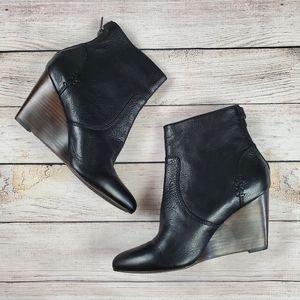 Frye | Regina wedge bootie | black with brown heel